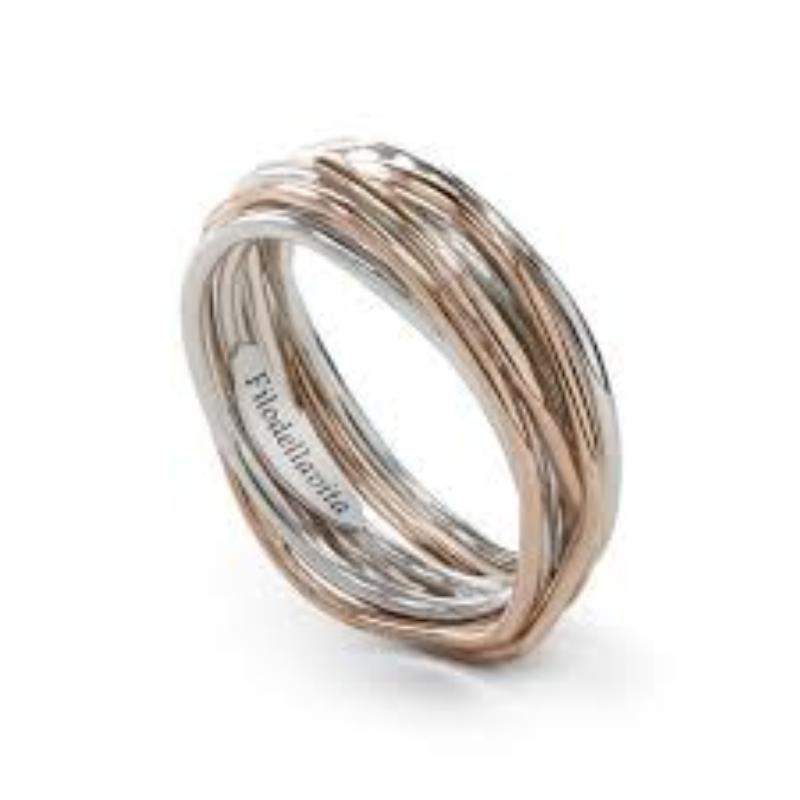 Filodellavita-anello-7-Fili-oro-rosa-375/°°°°-e-argento-925/°°°