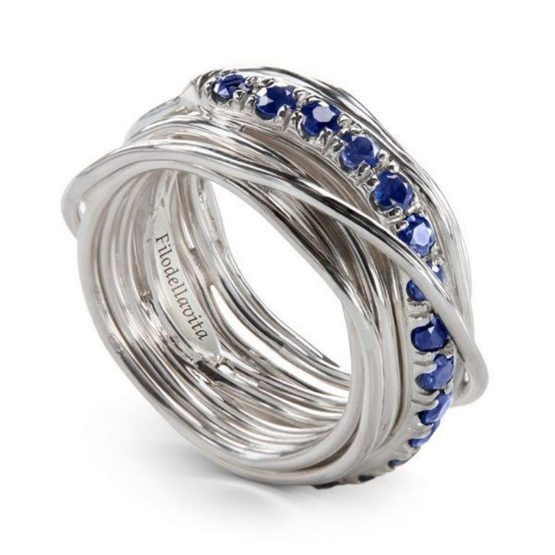 Fliodellavita-anello-Prezioso-Collection-13-fili-argento-925/°°°-e-zaffiri-blu