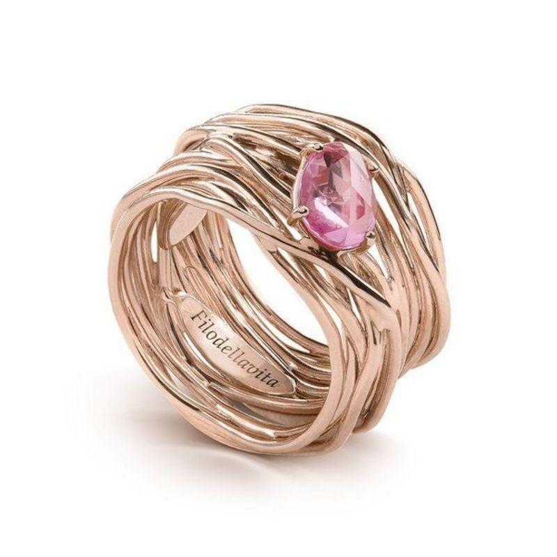 Filodellavita-anello-Luce-Collection-13-fili-oro-rosa-750/°°°-e-zaffiro-rosa