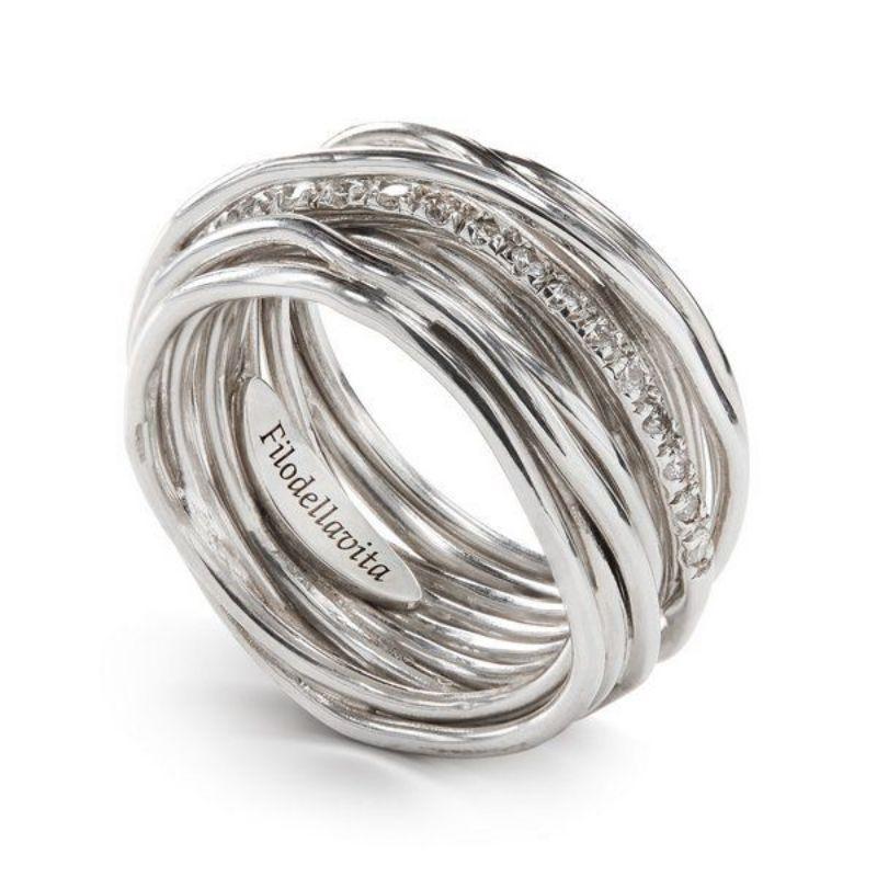 Filodellavita-anello-13-fili-argento-925/°°°-e-diamanti-bianchi-(0,21-ct)