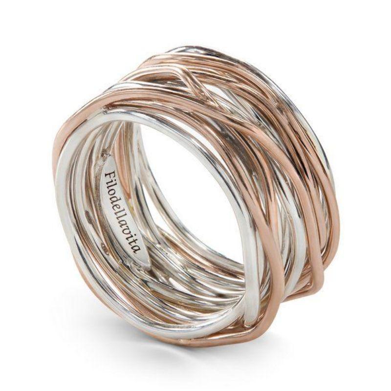 Filodellavita-anello-13-fili-oro-rosa-375/°°°-e-argento-025/°°°