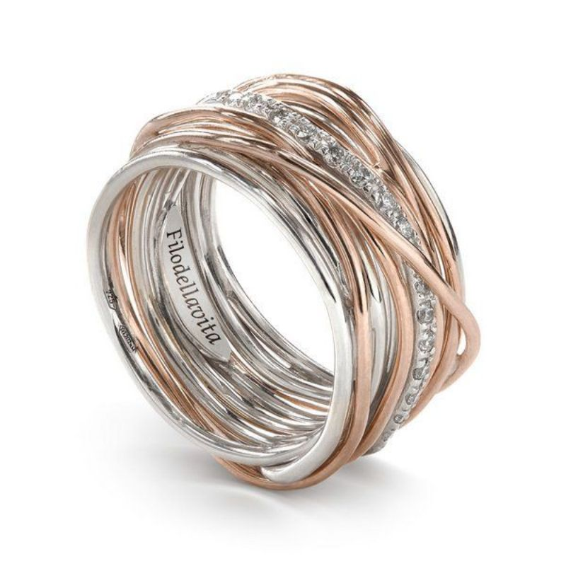 Filodellavita-anello-13fili-oro-rosa-375/°°°°-e-argento-925/°°°-con-diamanti-bianchi-(0,21-ct)
