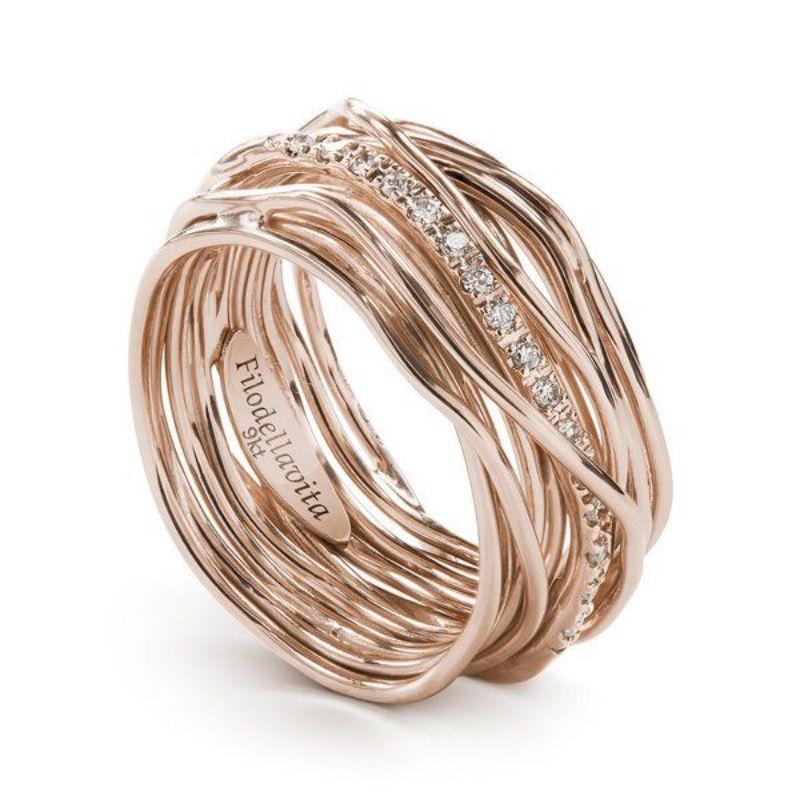 Filodellavita-anello-13-fili-oro-rosa-375/°°°-e-diamanti-bianchi-(0,18-ct)