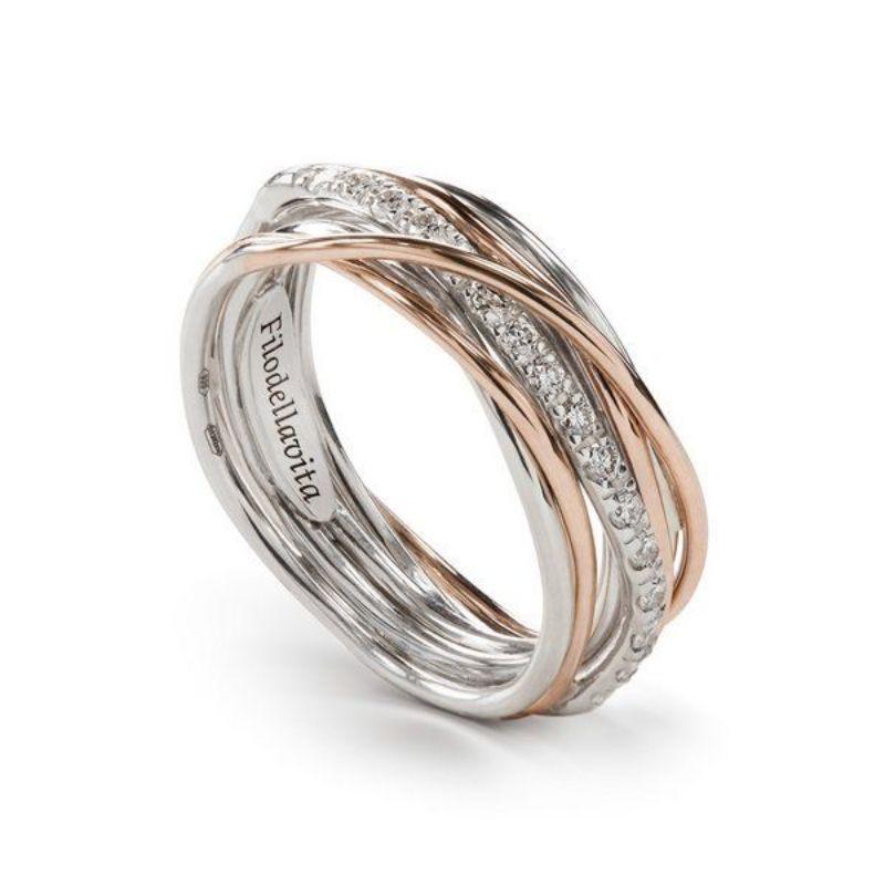Filodellavita-anello-7-fili-oro-rosa-375/°°°-e-argento-925/°°°-con-diamanti-bianchi-(0,21-ct)