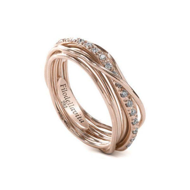 Filodellavita-anello-7-fili-in-oro-rosa-375/°°°°-e-diamanti-bianchi-(0,18-ct)